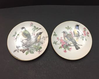 Pair of Vintage Small Porcelain Bird Plates / Dishes - Home Decor - Collectibles