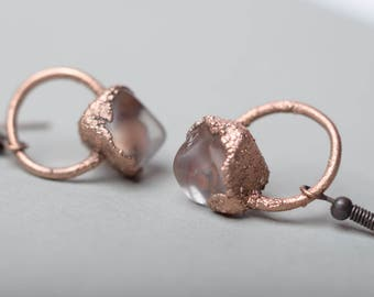 rose quartz earrings free form crystal earrings boho gifts electroplated copper jewelry