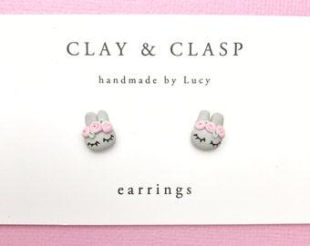 Flower crown bunny rabbit earrings - beautiful handmade polymer clay jewellery by Clay & Clasp