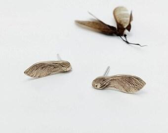 Maple key Earrings, Maple seed Studs, Samaras Jewelry, Sycamore Bronze earrings, Botancial Jewelry, Woodland Earrings, Nature inspired