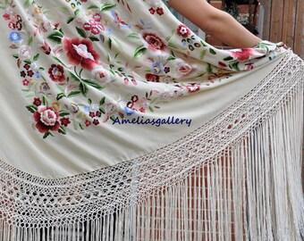 Hand embroidered wedding flamenco silk piano shawl, manton