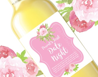 New Mom Gift - Mommy's First Wine Labels - Mommy Wine - Pink Floral New Mama Baby Shower Gift Decor - Funny Wine Labels, Mom's Night Out