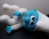 Jumbo Baby Smurf Hasbro 1984 Wallace Berrie Doll blue white cloth and vinyl Very Nice stuffed plush toy Easter Christmas boy girl vintage