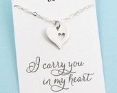 New Mother Gift . Adoption . Surrogate Birth . Double Heart Necklace . I Carry Your Heart . SILVER OR GOLD