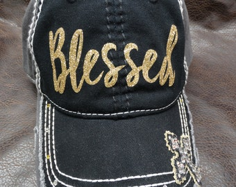 BLESSED Distressed Bling Hat