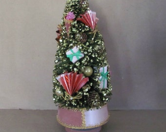 Vintage Christmas Tree, 1960's Bottle Brush Tree, Musical Christmas Tree, Pink Christmas Tree, Silent Night, Christmas Decor, Mid Century