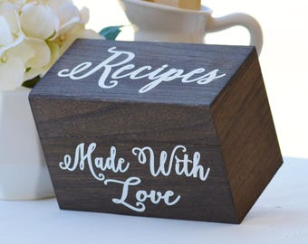 Made With Love Recipe Box, Wooden Recipe Box, Holds 4x6 Cards, Rustic Kitchen Decor, Wood Recipe holder, Mother's Day Gift