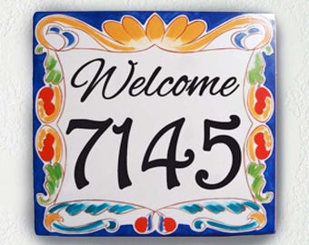 Porcelain house number plaque, Outdoor house sign. Door house numbers