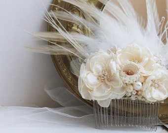 Ivory Feather Headpiece Cream Flower wedding fascinator Vintage inspired fascinator Romantic Ivory headpiece