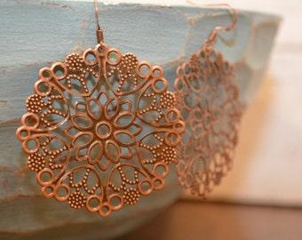 Filigree Flower earrings, Filigree Earrings, Antique Copper Earrings, Boho Earrings, Copper Earrings, Antique Copper Filigree Earrings