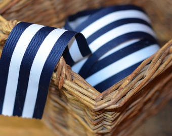 20 yard roll of navy and white grosgrain striped ribbon