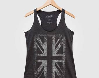 UNION JACK Women Tank Top Triblend Racerback Tank Top Hand Screen Print
