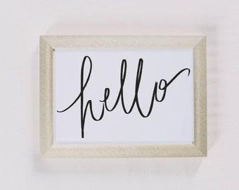 Calligraphy Print, Hello