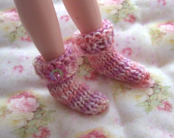 blythe doll knitted socks winter pastel  pink lilac rainbow fashion doll clothes 1/6 playscale