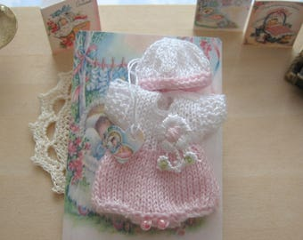 dollhouse baby doll romper and hat knitted 12th scale miniature
