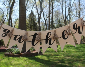 Gather Pennant Banner | Wedding Banner | Thanksgiving Decor | Canvas Pennant | Wall decor | FREE SHIPPING