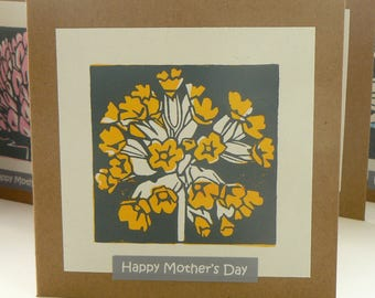 Cowslip hand printed Mother's Day linocut card