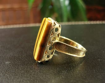 Vintage 10k Yellow Gold Tiger Eye Ring