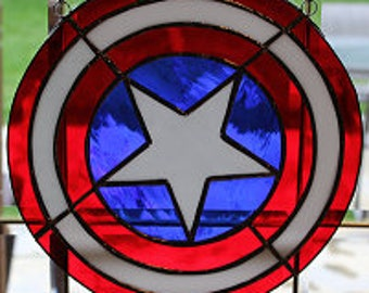 Stained glass Captain America sun catcher