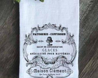 Farmhouse Flour Sack Towel Tea Towel, French Patisserie Confiserie, Vintage French Kitchen Towel, French Farmhouse