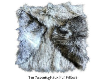 plush faux fur pillow sham cover plush gray wolf 3 new sizes