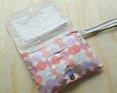Pink purple blue circle pattern circle pattern nappy clutch, nappy wallet, diaper wallet, diaper clutch, nappy bag, diaper bag,