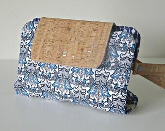 Cork fabric dark blue white demask style print fabric nappy clutch. nappy wallet. diaper clutch. diaper wallet. diaper bag.