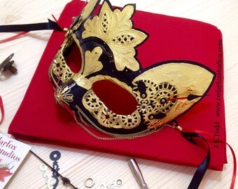 Mask Clockwork Cat Masquerade costume steampunk theatre festival storytelling art moving parts gold black red