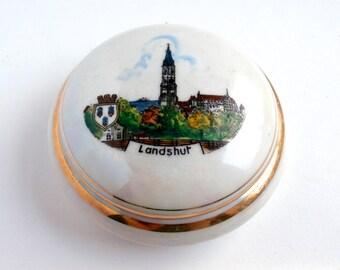 White Pottery - Vintage - Decorative Box - Souvenir - Collectibles