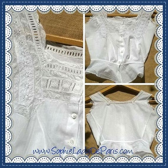 Victorian White Lacy Corset Top French Cotton Camisole Small Clothing Costume #sophieladydeparis