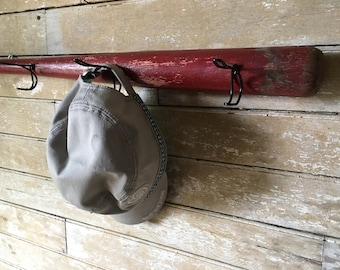 Wooden Vintage Baseball Bat Cap or Coat Rack   Red Awesome