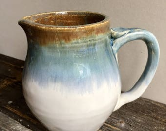Creamer wheel thrown handmade pottery ceramic rustic white blue green holds 23oz