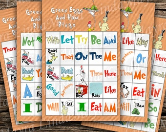 Dr. Seuss Green Eggs and Ham Educational Bingo Sight words Digital download