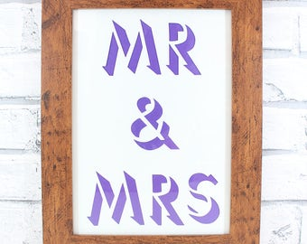 PAPERCUT - Mr & Mrs shadow lettering original papercut wedding gift by QueenieDot