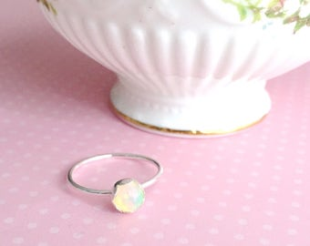 Minimalist Genuine Ethiopian Ring with Thin Band | Dainty Opal Ring | Sterling Silver | Dainty Silver Ring | Silver Stacking Ring | Opal