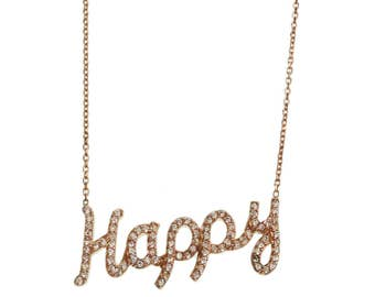 Happy Charm Necklace/ Silver Necklace/ Cubic Zirconia/ Gold Plated