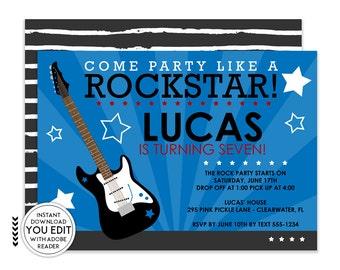 Rockstar Invitation, Rockstar Party, Rock Star Invitation, Rockstar Invite, Rockstar Birthday, Rockstar Birthday Invitation, Rock Star | 295