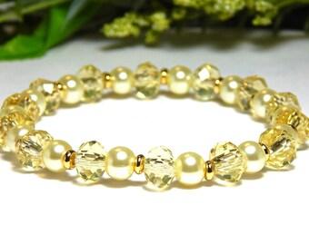 Yellow Crystal Beaded Bracelet, Yellow Bracelet, Yellow Crystal Bracelet, Pale Yellow Bracelet, Yellow Bead Bracelet, Yellow Beaded Bracelet