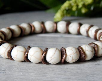 Mens Bracelets, Mens Beaded Bracelets, Man Bracelet, Mens White Bracelet, Mens Cream Bracelet, Mens Summer Bracelet, Gift for Boyfriend