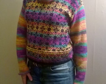 Hand made jumper made from multicolour yarn,Soft and Light