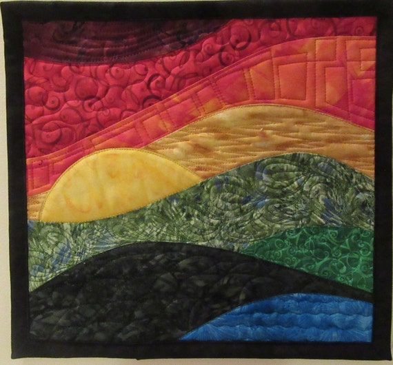 Art Quilt Sunset 49 Small, Wall Hanging