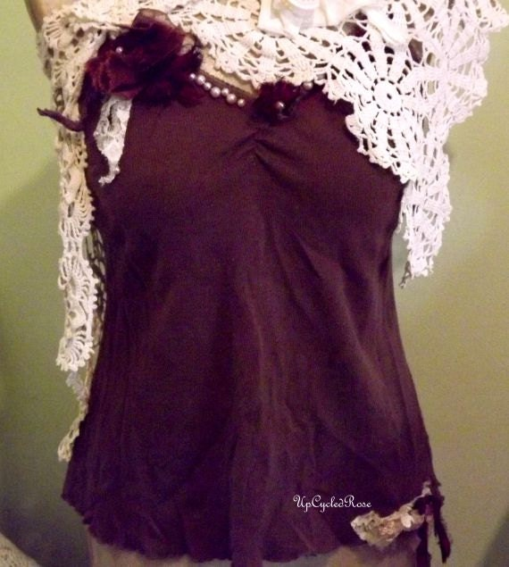 Chocolate and Vanilla Summer Boho Trashion 2 Piece Tank and Bolero Ready to ship FREE in USA