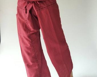 TC8003 Hand Sewing Inseam design for Thai Fisherman Pants Wide Leg pants, Wrap pants, Unisex pants