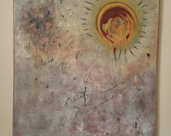 Original Reflections by Caleb Rocha, Jung fine art post modern Acrylic Painting Textured Aged Patina Shimmer, Desert Punk Open Sky Blistered