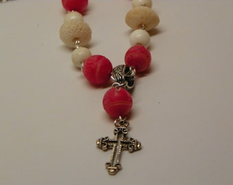 Rosary necklace made with pink carved nuts and white coral beads with pull though clasp(N4)