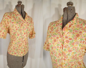 1950s Blouse - Plus Size 50s Vintage Yellow and Pink High Waist Blouse with Cuffed Sleeves XL
