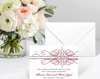 Adorned - Card - Save the Date - Includes Back Side Printing + Envelope