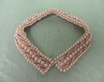 Faux pearl and beaded vintage satin collar AS IS /  Peter Pan , choker , lined collar