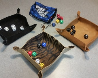 Suede Leather Collapsible Dice Tray