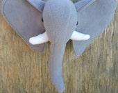 Faux Elephant Plush Head Wall Mount